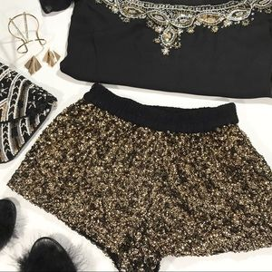 Zara Gold Sequined Shorts
